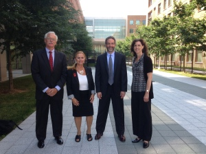 (Left to Right) Jim Kane, PWSA (USA) Research Advocacy Chair; Janalee Heinemann, PWSA (USA) Director Of Research & Medical Affairs;  Rob Lutz, PWS (USA) board member and coordinator of the PWS Collaborative Therapeutic Development Team; Theresa Strong, FPWR Scientific Advisory Board Chair and board member